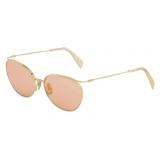 Céline - Metal Frame 11 Sunglasses in Metal with Glitter Lenses - Gold Pink - Sunglasses - Céline Eyewear