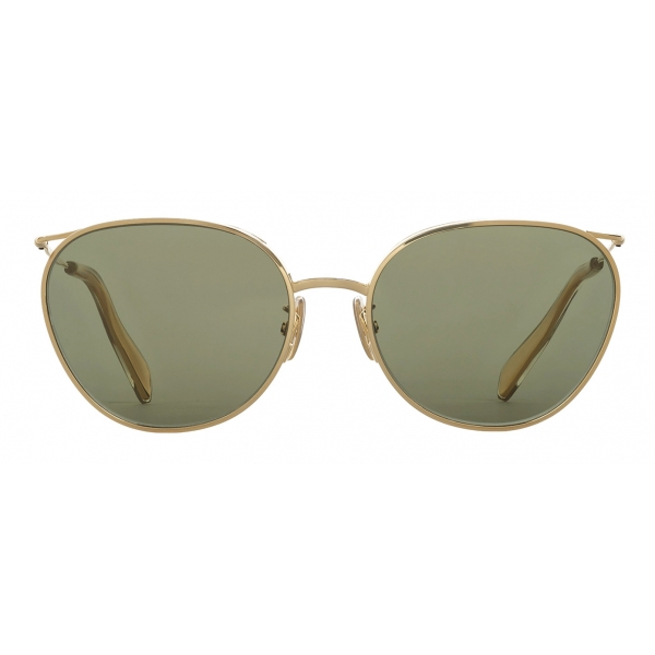 Céline - Metal Frame 11 Sunglasses in Metal with Mineral Glass Lenses - Gold Green - Sunglasses - Céline Eyewear