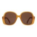 Céline - Oversized S158 Sunglasses in Acetate and Metal - Milky Honey - Sunglasses - Céline Eyewear