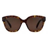 Céline - Square S167 Sunglasses in Acetate with Triomphe Pattern - Dark Havana - Sunglasses - Céline Eyewear