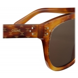 Céline - Square S167 Sunglasses in Acetate with Triomphe Pattern - Light Havana - Sunglasses - Céline Eyewear