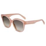 Céline - Square S167 Sunglasses in Acetate with Triomphe Pattern - Milky Rose - Sunglasses - Céline Eyewear