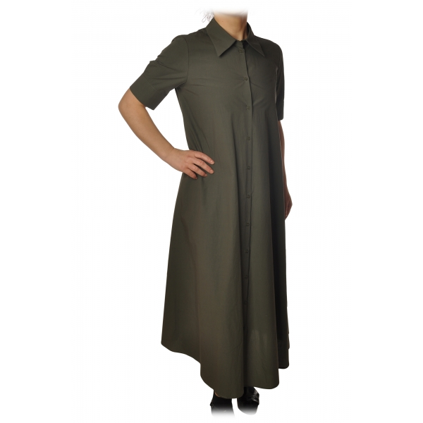 Ottod'Ame - Long Dress with Buttons - Military Green - Dresses - Luxury Exclusive Collection