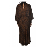 Ottod'Ame - Long Dress in Animalier Pattern - Brown - Dresses - Luxury Exclusive Collection