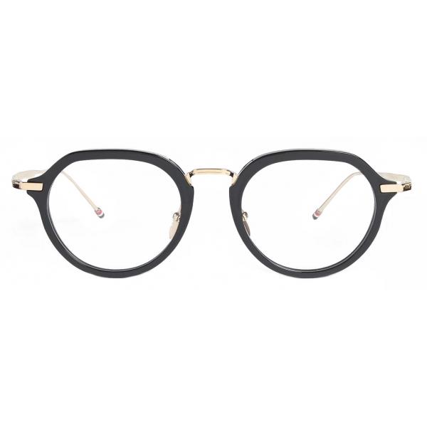 Thom Browne - Occhiali da Vista Clubmaster in Oro Bianco e Nero - Thom Browne Eyewear