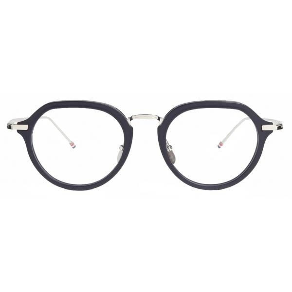 Thom Browne - Occhiali da Vista Clubmaster Blu Opaco e Argento - Thom Browne Eyewear