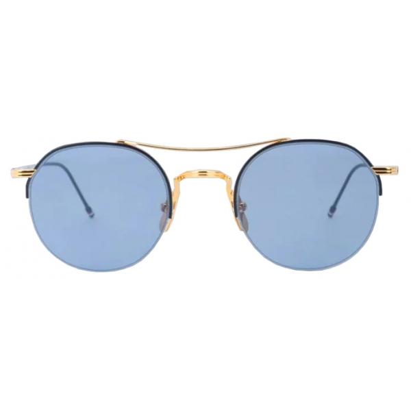 Thom Browne - Blue and Gold Round Sunglasses - Thom Browne Eyewear