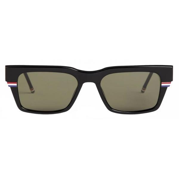 Thom Browne - Black Tri-Color Line Rectangle Sunglasses - Thom Browne Eyewear