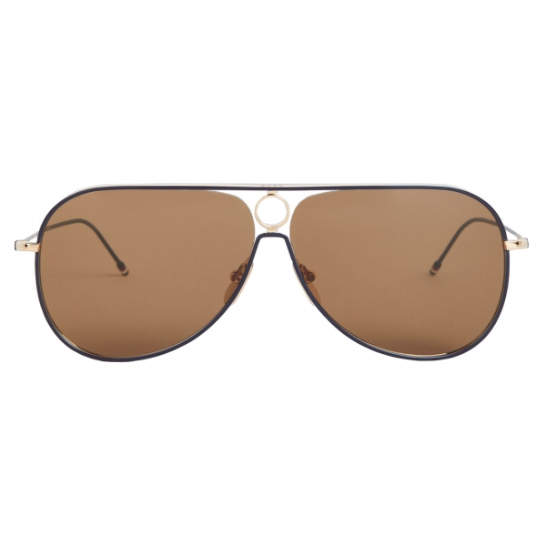 Thom Browne - Gold and Navy Aviator Sunglasses - Thom Browne Eyewear