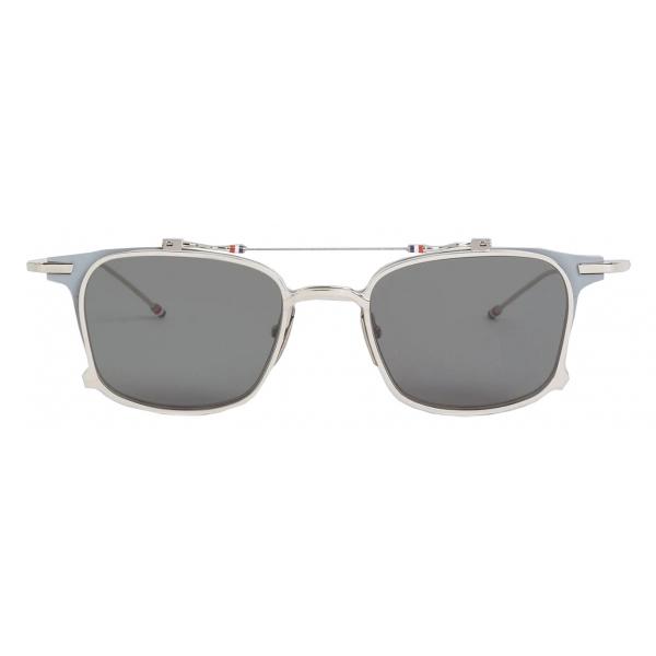 Thom Browne - Grey Matte Iron Clubmaster Sunglasses - Thom Browne Eyewear