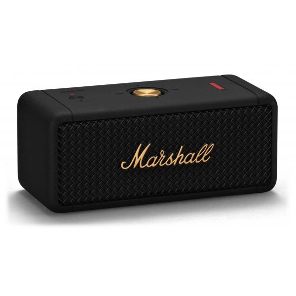 Marshall - Emberton - Nero e Ottone - Bluetooth Speaker Portatile - Altoparlante Iconico di Alta Qualità Premium Classico