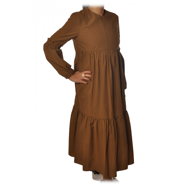 Ottod'Ame - Long Dress with Flounces - Caramel - Dresses - Luxury Exclusive Collection