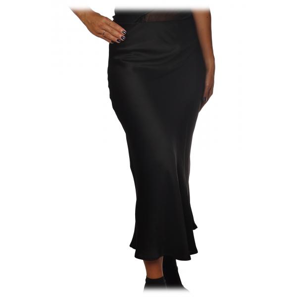 Ottod'Ame - Midi Skirt Satin Effect - Black - Skirt - Luxury Exclusive Collection