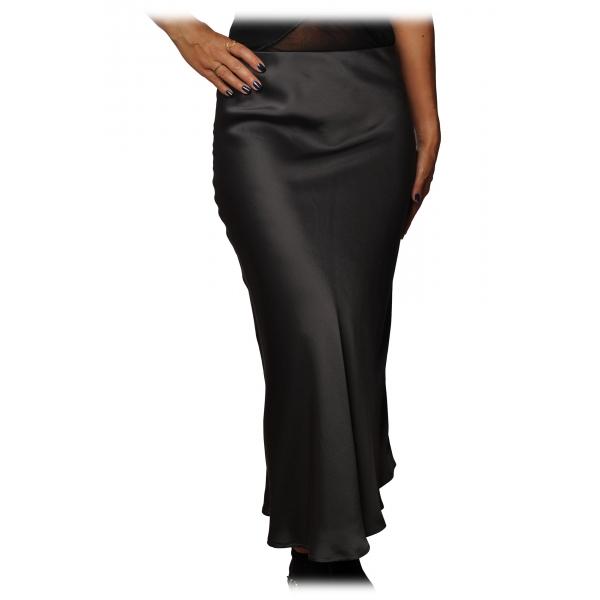 Ottod'Ame - Midi Skirt Satin Effect - Smoke - Skirt - Luxury Exclusive Collection