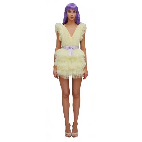 Teen Idol - Orione Tulle Mini Dress with Shoulders - Yellow - Dresses - Teen-Ager - Luxury Exclusive Collection