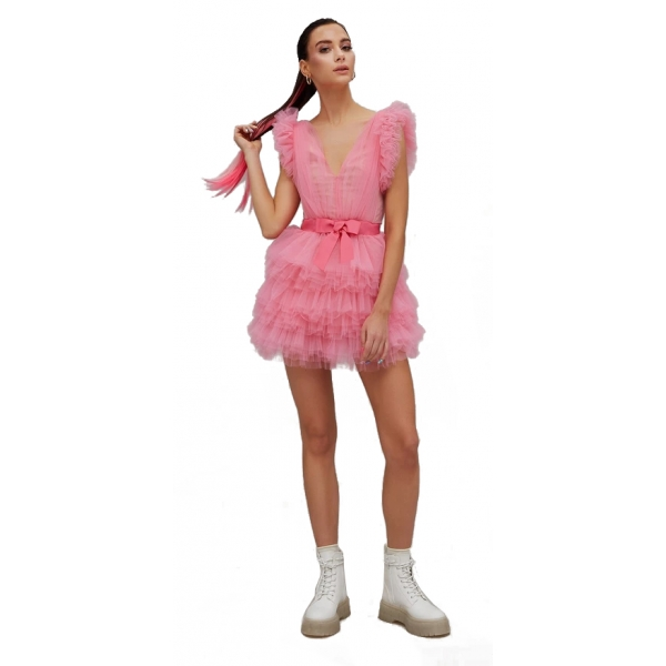 Teen Idol - Orione Tulle Mini Dress with Shoulders - Pink - Dresses - Teen-Ager - Luxury Exclusive Collection