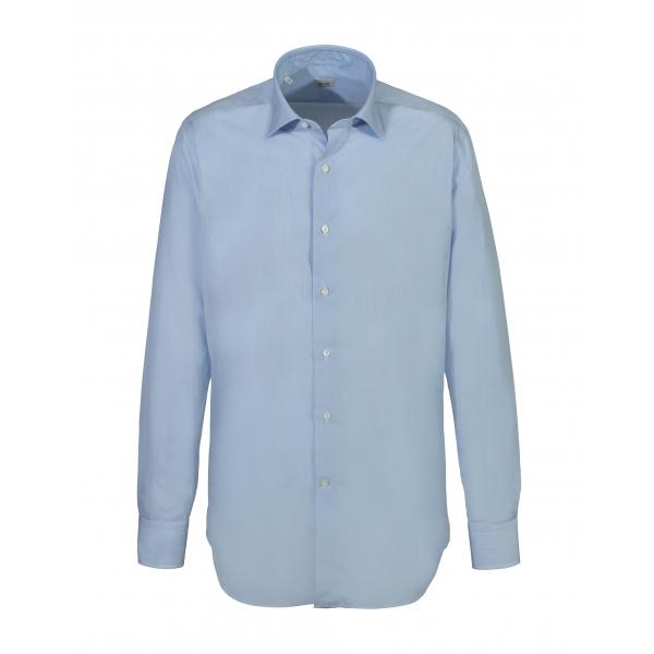 Alessandro Gherardi - Camicia a Manica Lunga - Celeste su Bianco - Camicia - Handmade in Italy - Luxury Exclusive Collection