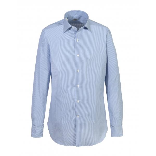Alessandro Gherardi - Camicia a Manica Lunga - Azzurro su Bianco - Camicia - Handmade in Italy - Luxury Exclusive Collection