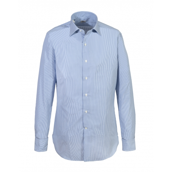 Alessandro Gherardi - Long Sleeve Shirt - Light Blue on White - Shirt - Handmade in Italy - Luxury Exclusive Collection