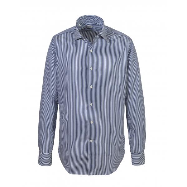 Alessandro Gherardi - Camicia a Manica Lunga - Riga Blu - Camicia - Handmade in Italy - Luxury Exclusive Collection