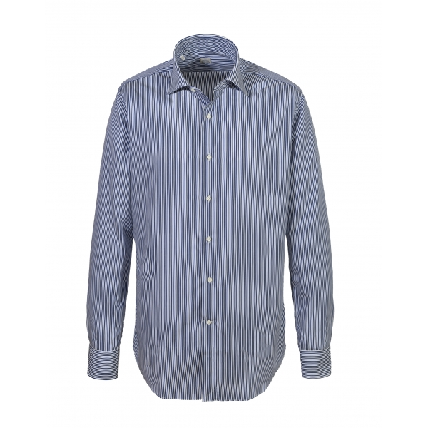 Alessandro Gherardi - Long Sleeve Shirt - Blue Stripe - Shirt - Handmade in Italy - Luxury Exclusive Collection