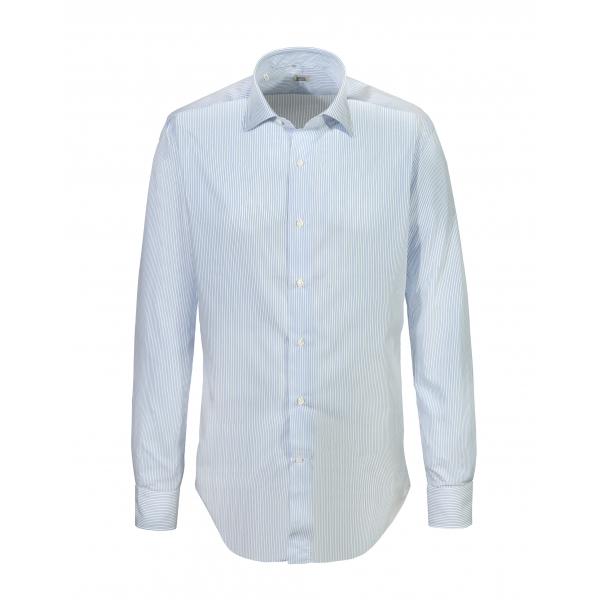 Alessandro Gherardi - Camicia a Manica Lunga - Riga Celeste - Camicia - Handmade in Italy - Luxury Exclusive Collection