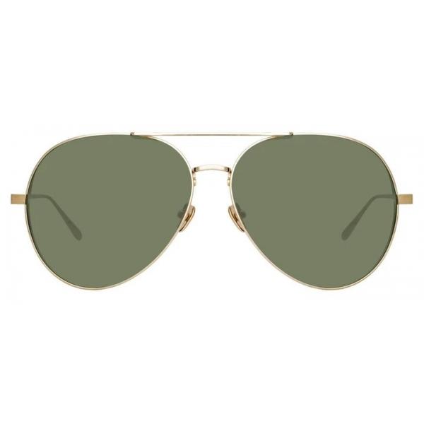 Linda Farrow - Ace Aviator Sunglasses in Light Gold - LFL992C9SUN - Linda Farrow Eyewear