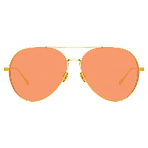 Linda Farrow - Occhiali da Sole Ace Aviator in Oro Giallo - LFL992C10SUN - Linda Farrow Eyewear
