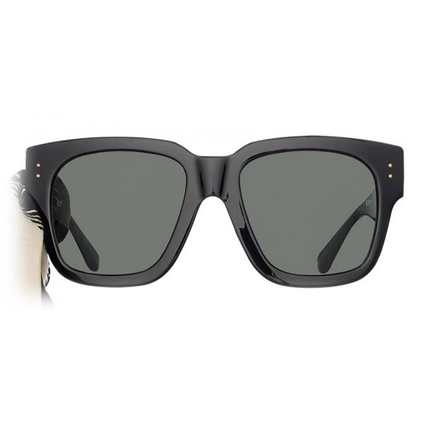Linda Farrow - Occhiali da Sole D-Frame Amber in Nero - LFL1001C1SUN - Linda Farrow Eyewear