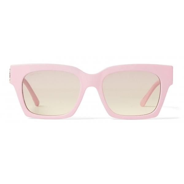 Jimmy Choo - Jo - Pink Acetate Square-Eye Sunglasses with Gold JC Logo - Jimmy Choo Eyewear