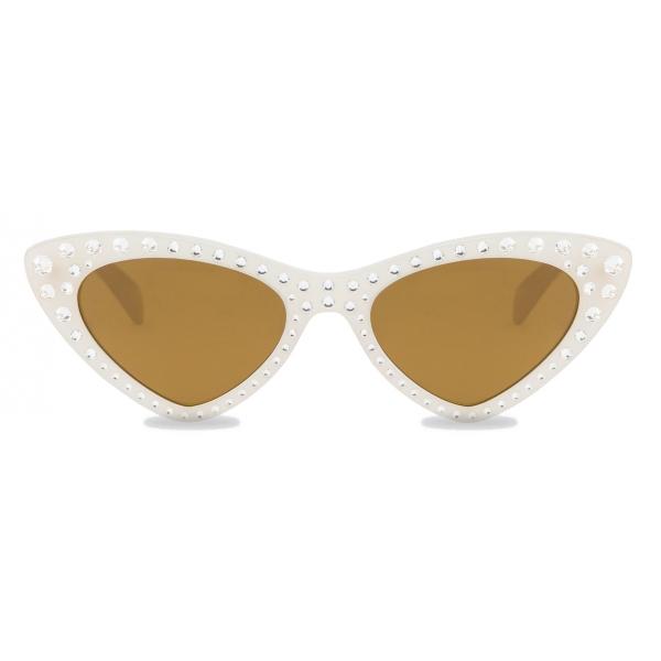 Moschino - Cat-Eye Sunglasses with Rhinestones - Ivory - Moschino Eyewear
