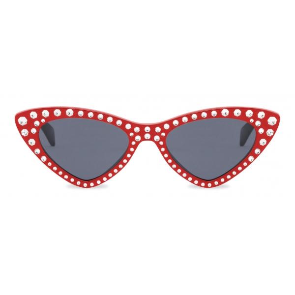 Moschino - Cat-Eye Sunglasses with Rhinestones - Red - Moschino Eyewear