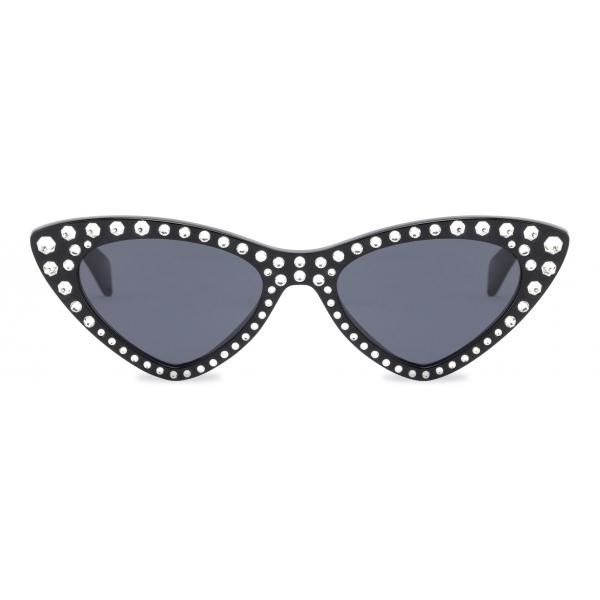 Moschino - Cat-Eye Sunglasses with Rhinestones - Black - Moschino Eyewear