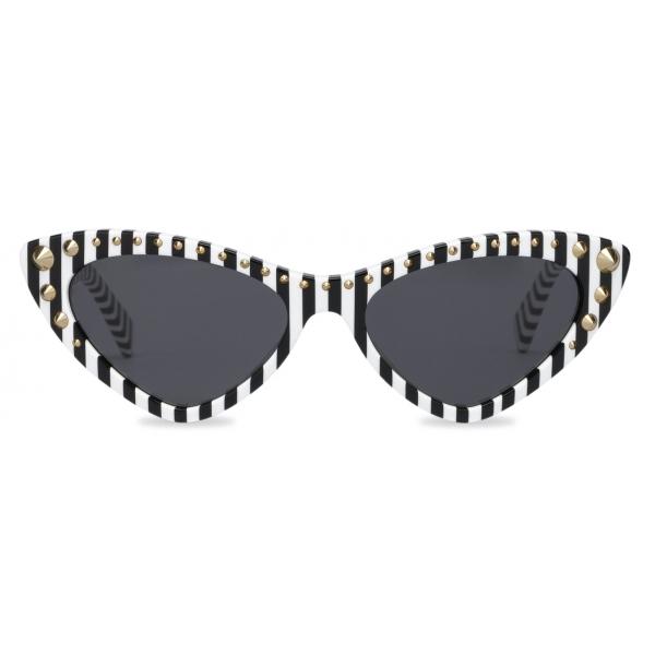 Moschino - Cat-Eye Striped Sunglasses - White - Moschino Eyewear