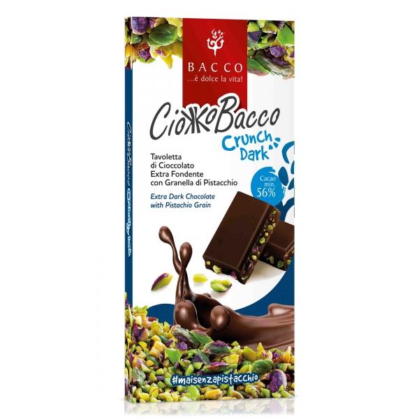 Bacco - Tipicità al Pistacchio - CiokkoBacco Crunch - Pistachio Extra Dark Chocolate Bar - Artisan Chocolate - 100 g