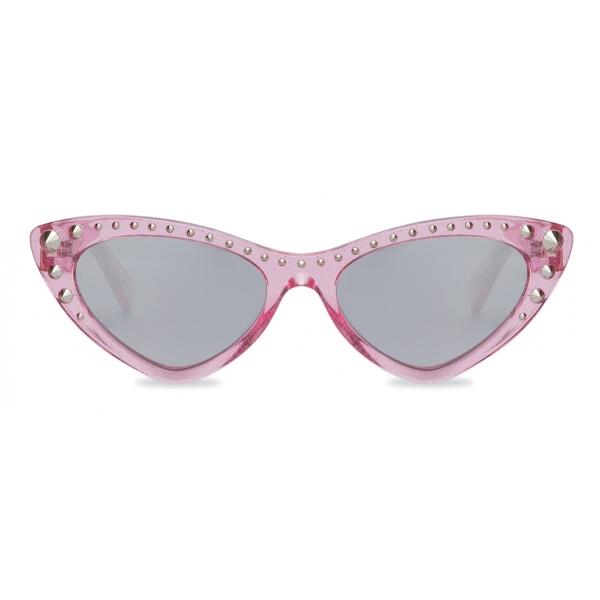 Moschino - Sunglasses with Glitter and Cat Eye Studs - Fuchsia - Moschino Eyewear