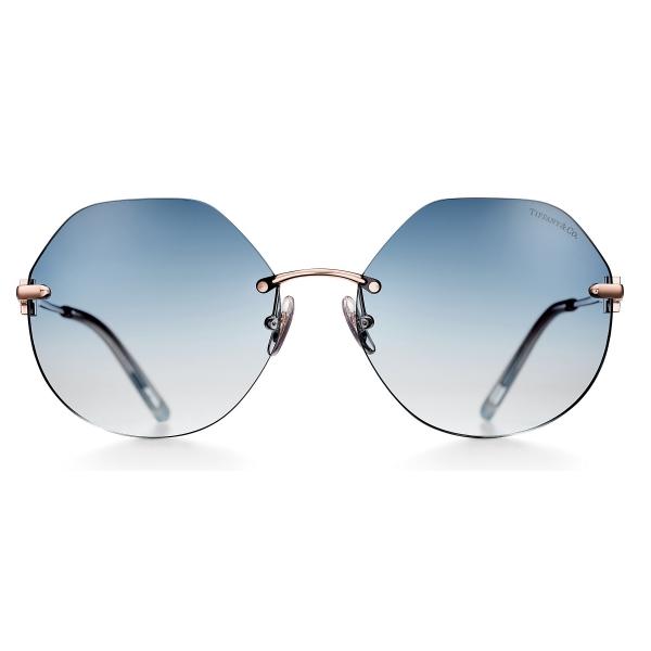 Tiffany & Co. - Occhiale da Sole Esagonali - Oro Rosa Azzurro - Collezione Tiffany T - Tiffany & Co. Eyewear