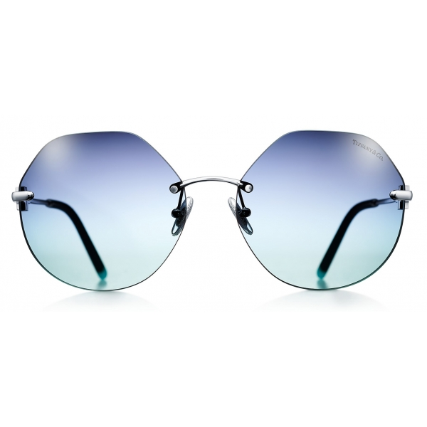 Tiffany & Co. - Occhiale da Sole Cat Eye - Argento Blu - Collezione Tiffany T - Tiffany & Co. Eyewear