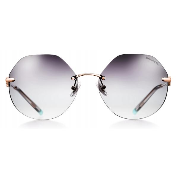 Tiffany & Co. - Occhiale da Sole Esagonali - Oro Rosa Grigio - Collezione Tiffany T - Tiffany & Co. Eyewear