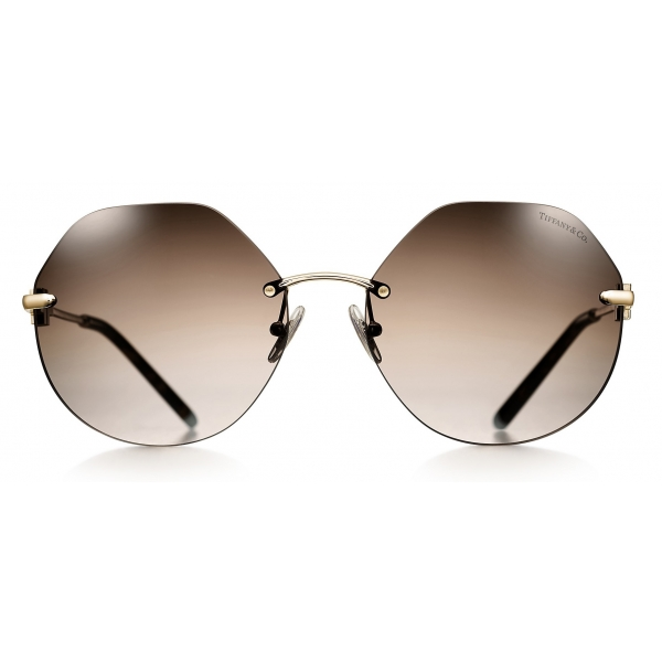 Tiffany & Co. - Occhiale da Sole Esagonali - Oro Marrone - Collezione Tiffany T - Tiffany & Co. Eyewear