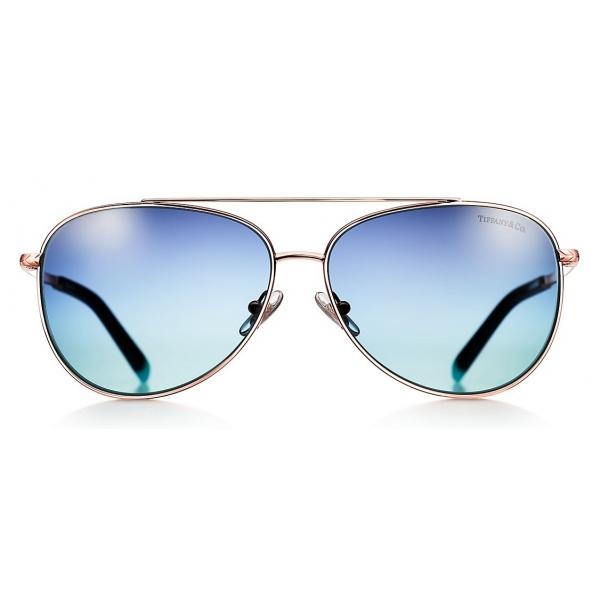 Tiffany & Co. - Occhiale da Sole Pilot - Oro Rosa Blu - Collezione Tiffany T - Tiffany & Co. Eyewear