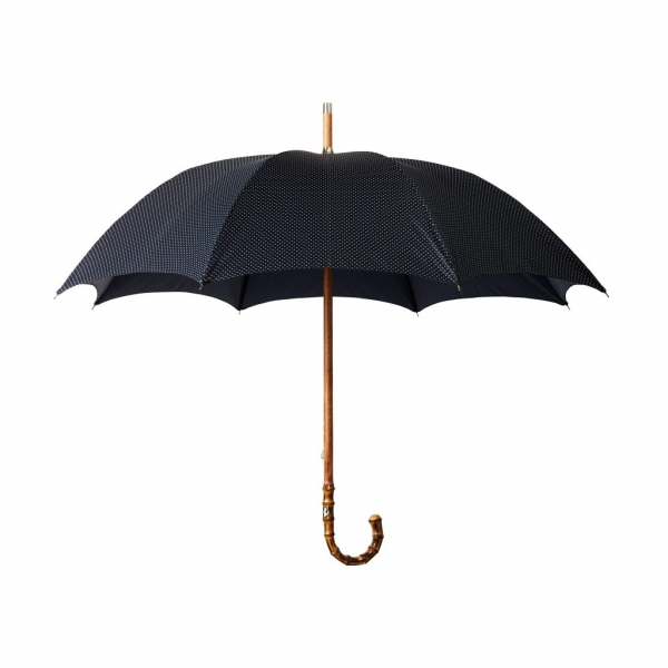 Viola Milano - Polka Dot Bamboo Umbrella - Navy and White - Handmade in Italy - Luxury Exclusive Collection