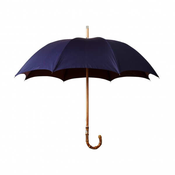 Viola Milano - Polka Dot Bamboo Umbrella - Navy and Red - Handmade in Italy - Luxury Exclusive Collection