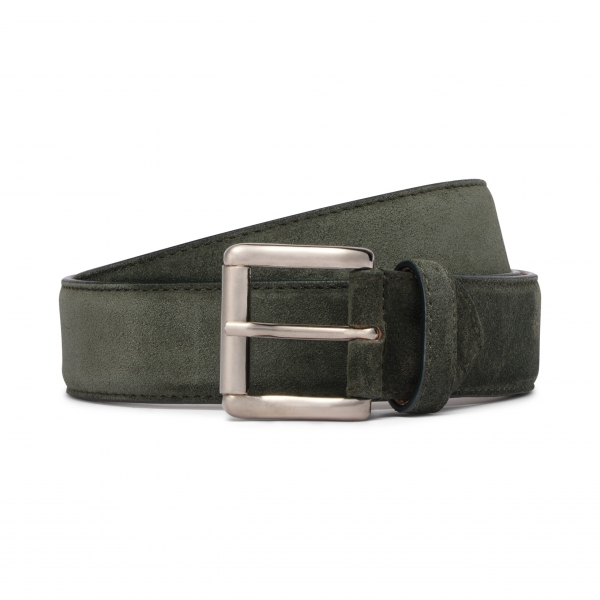 Viola Milano - Classic Italian Suede Belt - Green - Handmade in Italy - Luxury Exclusive Collection