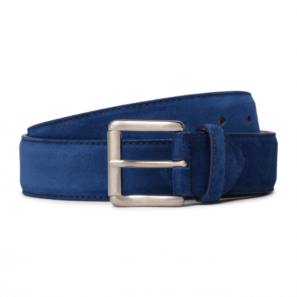 Viola Milano - Classic Italian Suede Belt - Blue - Handmade in Italy - Luxury Exclusive Collection
