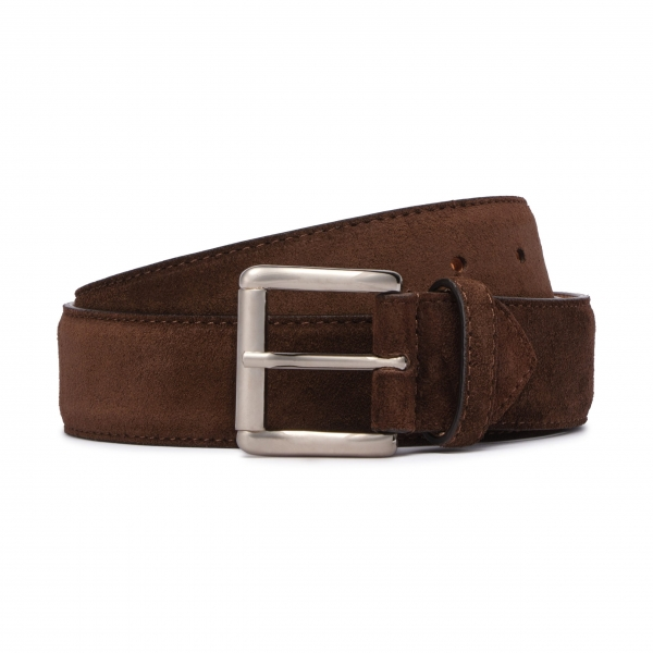 Viola Milano - Classic Italian Suede Belt - Brown - Handmade in Italy - Luxury Exclusive Collection