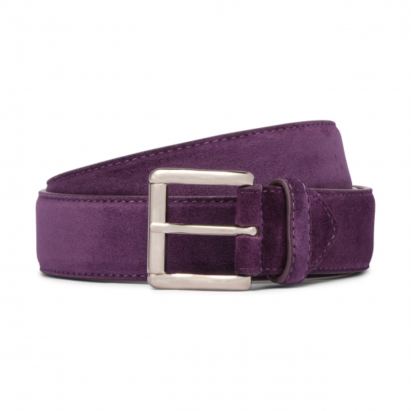 Viola Milano - Classic Italian Suede Belt - Purple - Handmade in Italy - Luxury Exclusive Collection