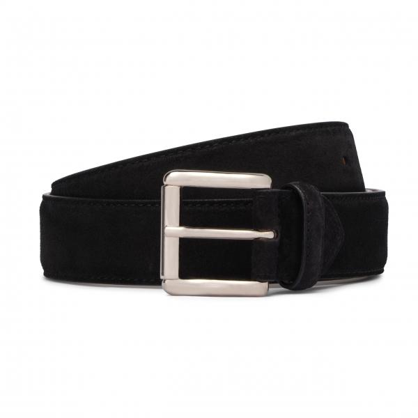 Viola Milano - Classic Italian Suede Belt - Black - Handmade in Italy - Luxury Exclusive Collection