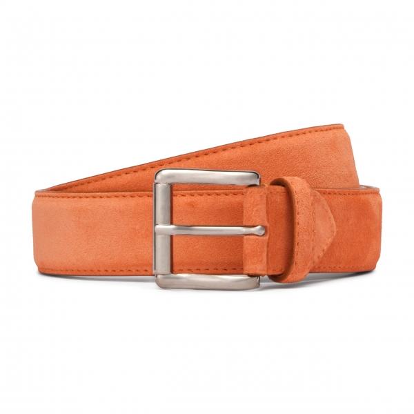 Viola Milano - Classic Italian Suede Belt - Orange - Handmade in Italy - Luxury Exclusive Collection