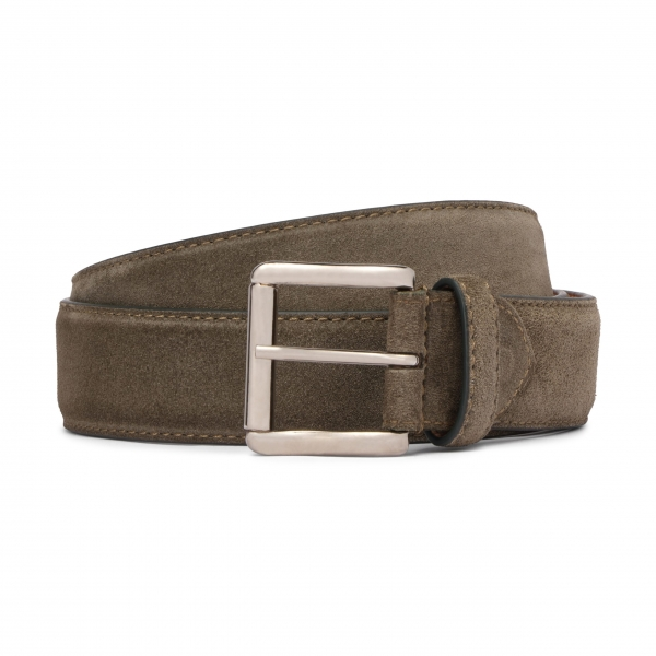 Viola Milano - Classic Italian Suede Belt - Olive - Handmade in Italy - Luxury Exclusive Collection